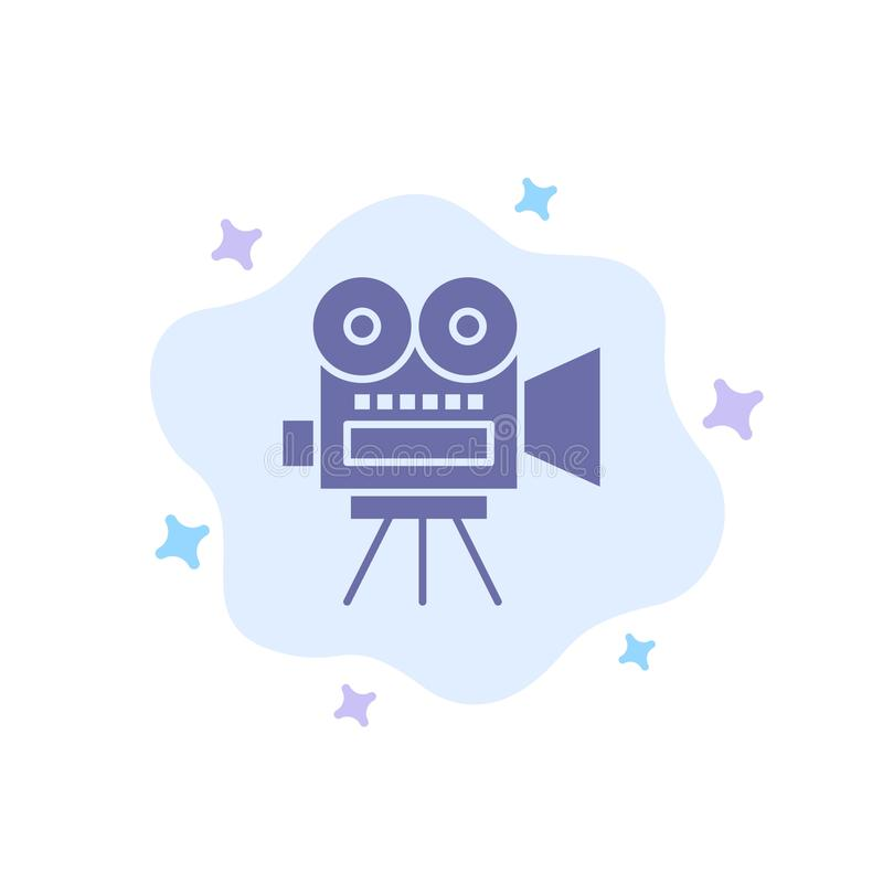 Camera, Film, Film, Onderwijs Blauw Pictogram op Abstracte Wolkenachtergrond royalty-vrije illustratie