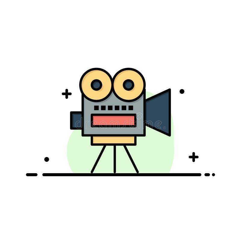 Camera, Film, Film, Onderwijszaken Logo Template vlakke kleur vector illustratie