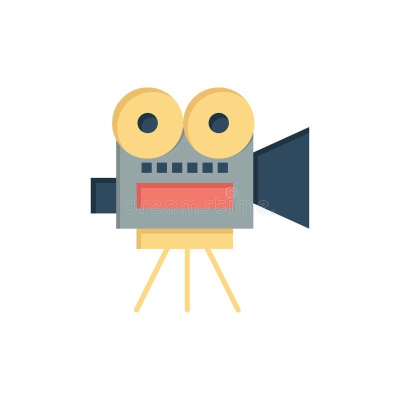 Camera, Film, Film, Pictogram van de Onderwijs het Vlakke Kleur Het vectormalplaatje van de pictogrambanner royalty-vrije illustratie
