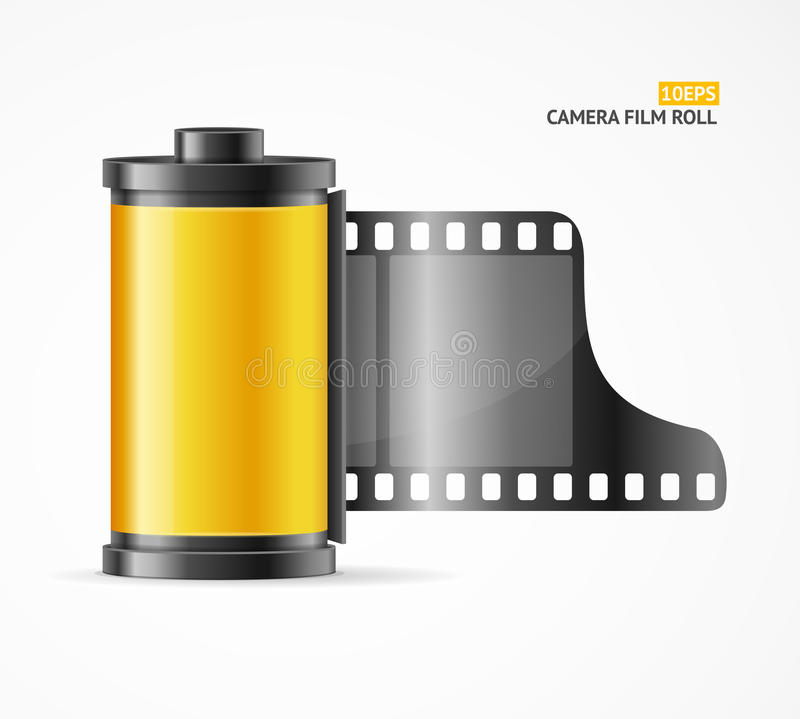 Camera Film Roll Cartrige. Vector. Realistic Yellow Camera Film Roll Cartrige Old Vintage Style for Video or Photo. Vector illustration royalty free illustration