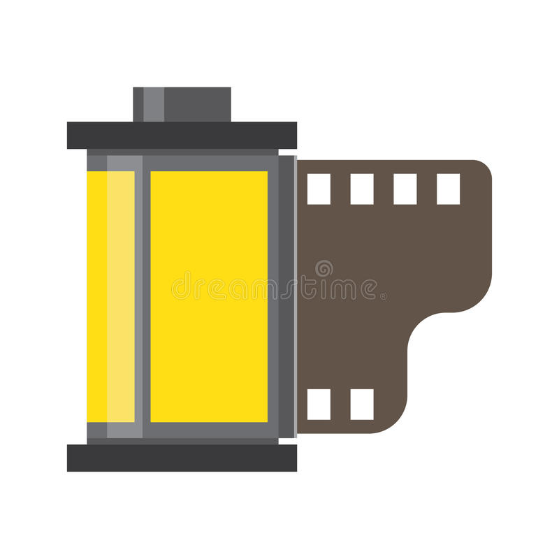 Camera film roll negative and films photo in cartridge royalty free illustration