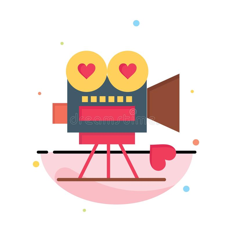 Camera, Film, Videocamera, Liefde, Valentine Abstract Flat Color Icon-Malplaatje stock illustratie