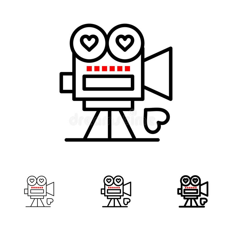 Camera, Film, Videocamera, Liefde, Valentine Bold en de dunne zwarte reeks van het lijnpictogram vector illustratie