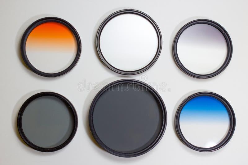 Camera Filters. Polarizing, neutral density, and graduated neutral density camera filters royalty free stock photo