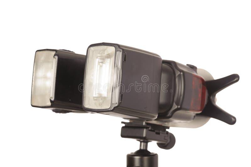 Camera flash. Light on white background royalty free stock photography