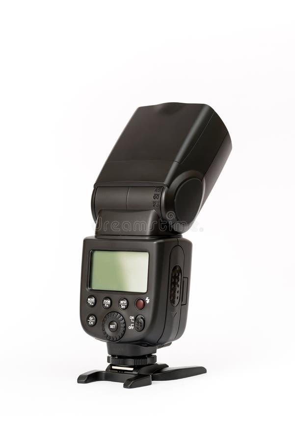 Camera flash isolated on white stock photography