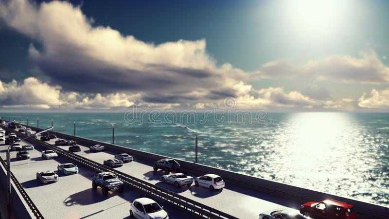 The camera flies over the bridge with heavy traffic. Cars go on the bridge in the afternoon. 3D Rendering stock illustration