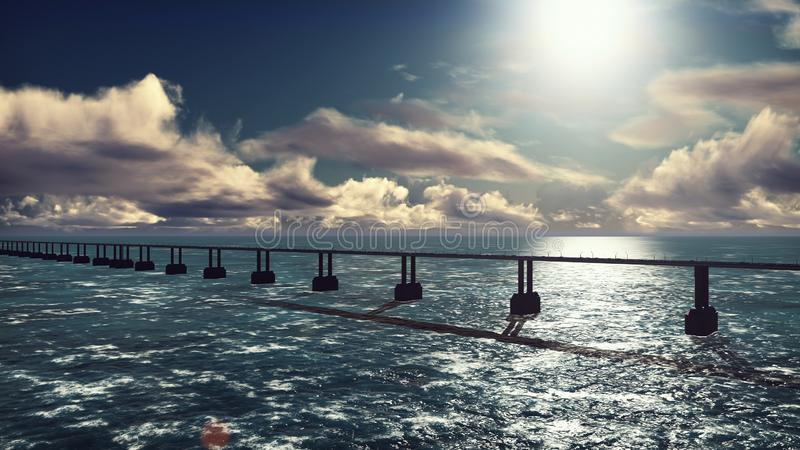 The camera flies over the bridge with heavy traffic. Cars go on the bridge in the afternoon. 3D Rendering royalty free illustration