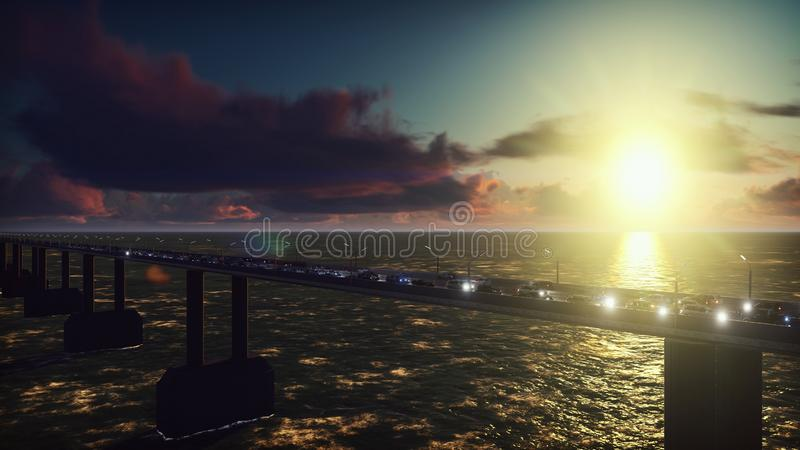 The camera flies over the bridge with heavy traffic. Cars with lights on go on the bridge at sunrise. 3D Rendering. The camera flies over the bridge with heavy royalty free stock photography