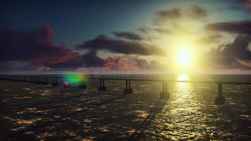 The camera flies over the bridge with heavy traffic. Cars with lights on go on the bridge at sunrise. 3D Rendering. The camera flies over the bridge with heavy royalty free stock image