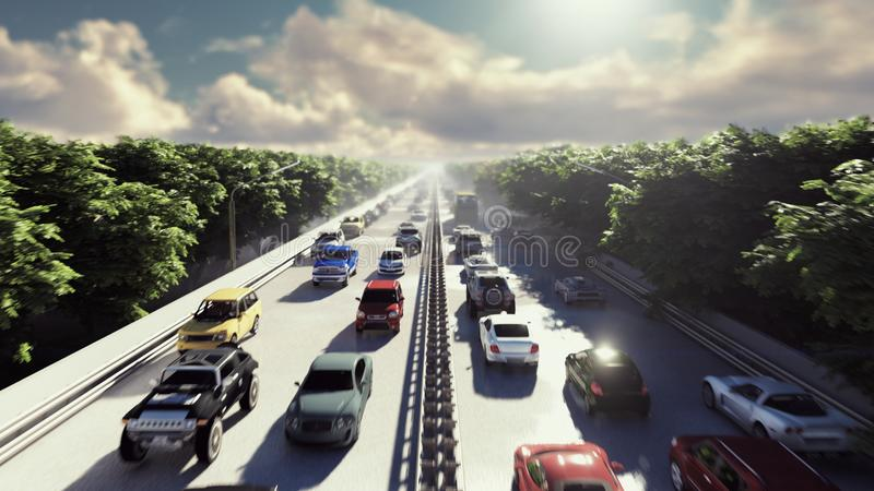 The camera flies over heavy traffic. Cars go through the city in the afternoon. 3D Rendering royalty free illustration