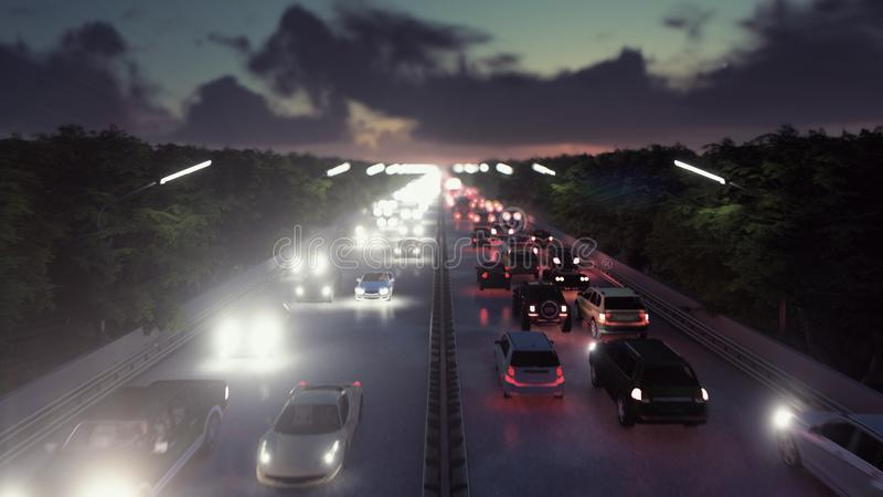 The camera flies over heavy traffic. Cars with lights on go through the city at night. 3D Rendering stock illustration