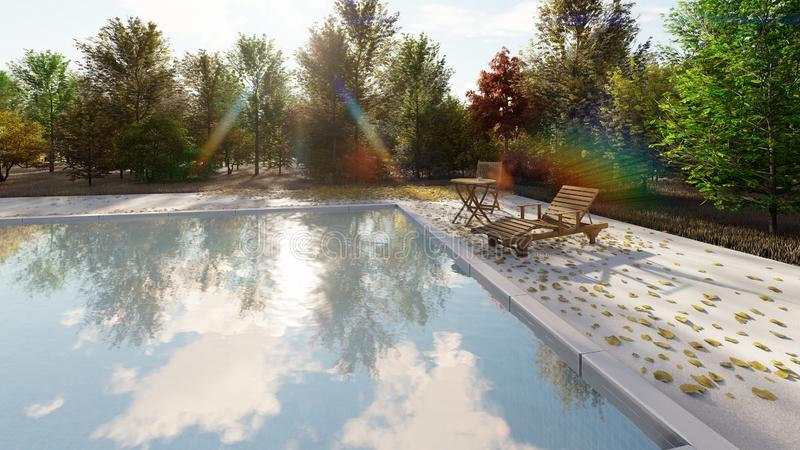 The camera flies past the pool in autumn on a clear Sunny day. 3D Rendering royalty free illustration