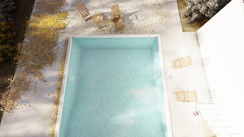 The camera flies past the pool in autumn on a clear Sunny day. 3D Rendering stock illustration