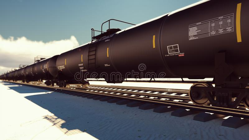 The camera flies past the railroad with cisterns passing through it with oil. 3D Rendering vector illustration