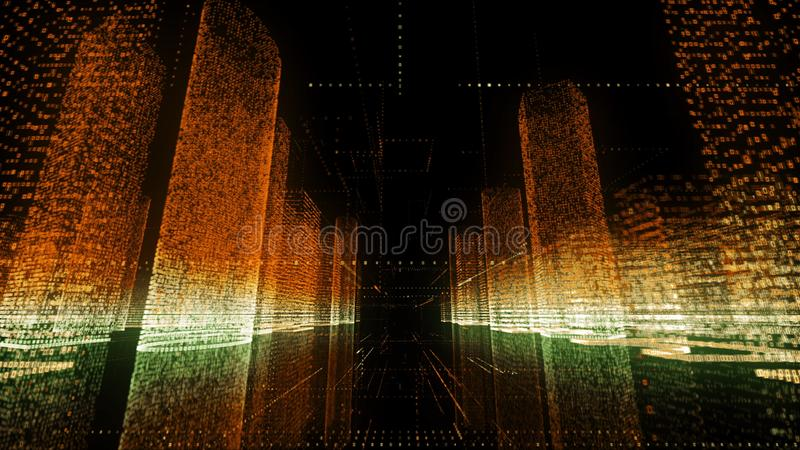 Camera flight in black space through the big digital city model consists of orange and white colored numbers and grids royalty free illustration
