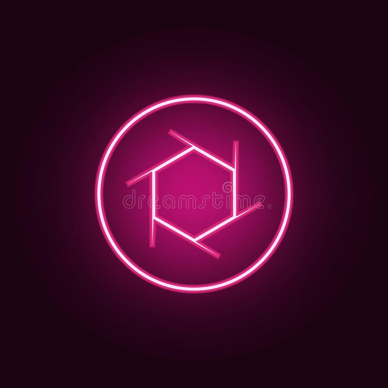 camera focus icon. Elements of Photo in neon style icons. Simple icon for websites, web design, mobile app, info graphics royalty free illustration