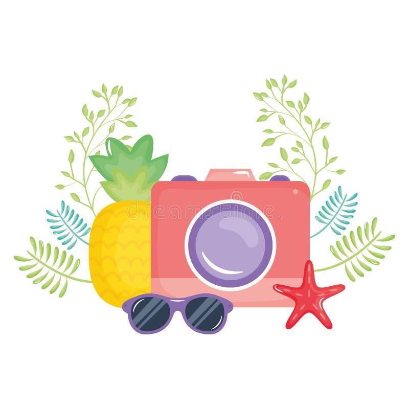 Camera fotografisch met de zomerzonnebril stock illustratie