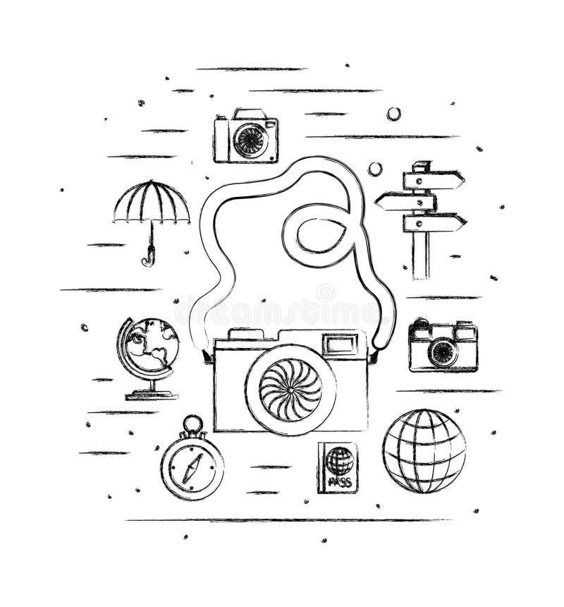 Camera fotografisch met reis vastgestelde pictogrammen stock illustratie