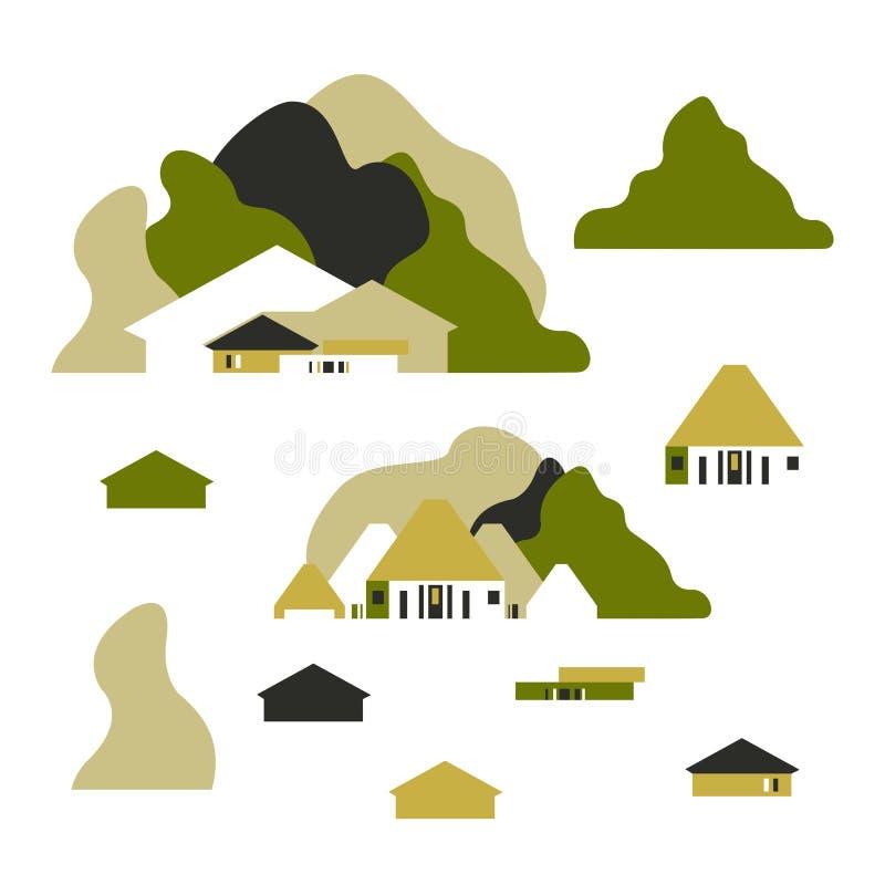 Camera fra le colline e gli alberi Stile piano Turismo e ricreazione illustrazione vettoriale