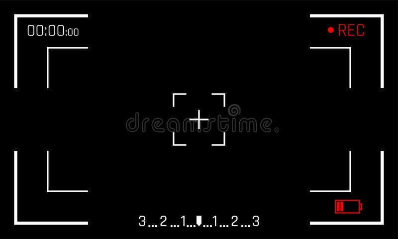 Camera frame viewfinder screen vector black backgroud of video recorder digital display stock illustration