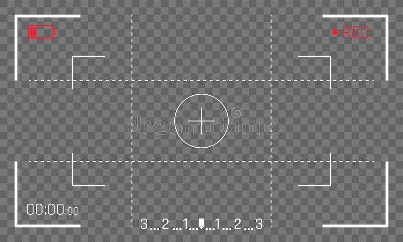 Camera frame viewfinder screen vector video recorder digital display on transparent background royalty free illustration