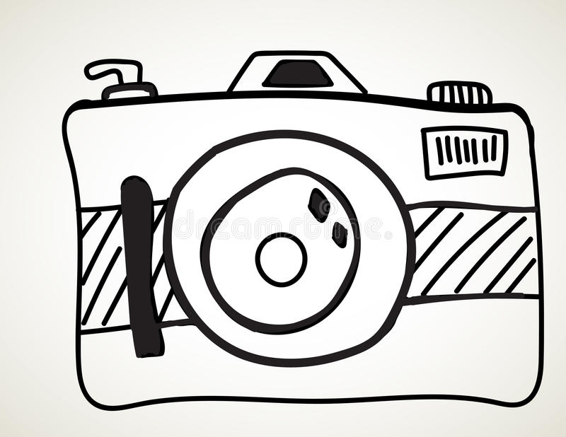 Camera - freehand sketch stock illustration