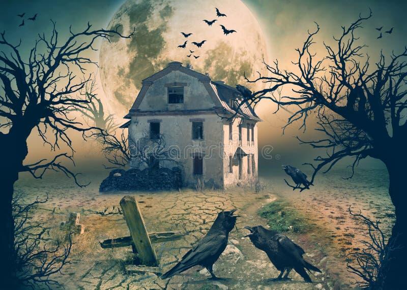 Camera frequentata con i corvi e la scena di orrore fotografia stock