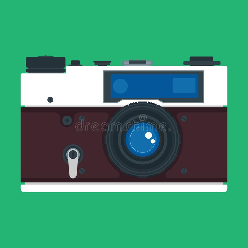 Camera front view digital photo equipment lens. Vector icon focus symbol. Professional vintage device flat reporter gadget vector illustration