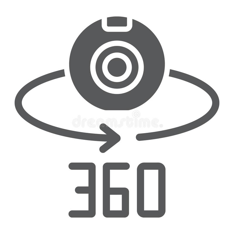 Camera 360 glyphpictogram, apparaat en omwenteling, panoramisch camerateken, vectorafbeeldingen, een stevig patroon op een wit royalty-vrije illustratie