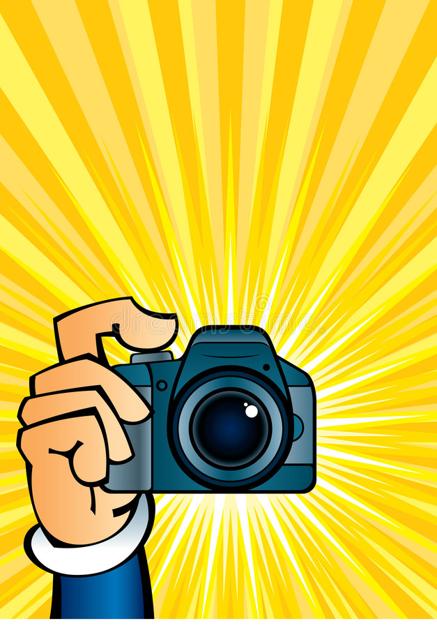 Camera in hand. Cartoon illustration of a clicking hand with camera