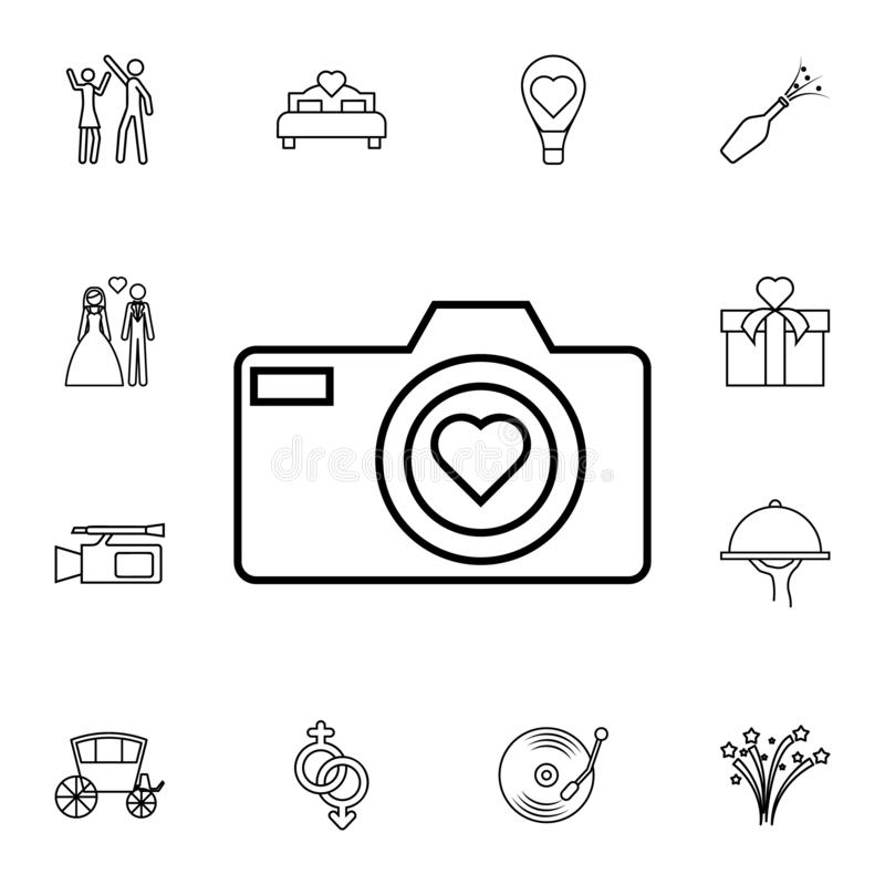 Camera with heart icon. Detailed set of wedding icons. Premium quality graphic design icon. One of the collection icons for websit. Es, web design, mobile app on royalty free illustration