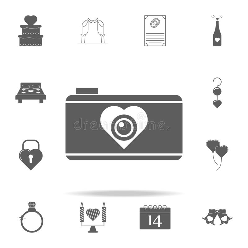 camera with heart icon. Romance icons universal set for web and mobile vector illustration