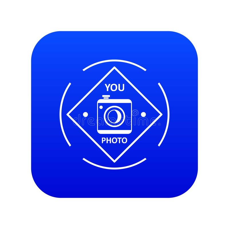 Camera icon blue vector. Isolated on white background royalty free illustration