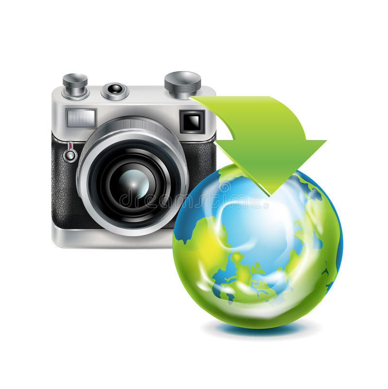 Download Camera Icon And Earth Globe Isolated Stock Photos - Image: 33166283