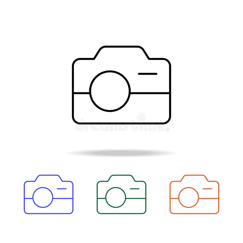 Camera icon. Elements of simple web icon in multi color. Premium quality graphic design icon. Simple icon for websites, web design. Mobile app, info graphics royalty free illustration