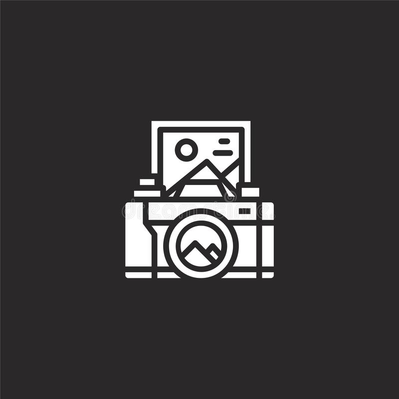 camera icon. Filled camera icon for website design and mobile, app development. camera icon from filled hobby collection isolated vector illustration