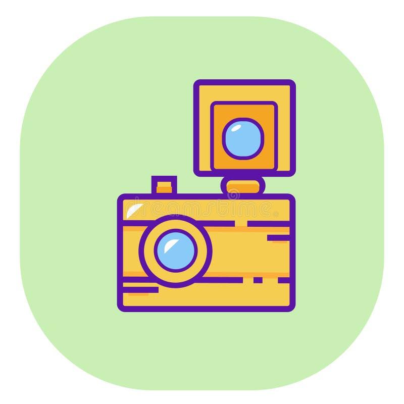 Camera icon, flat camera with flash vector royalty free illustration