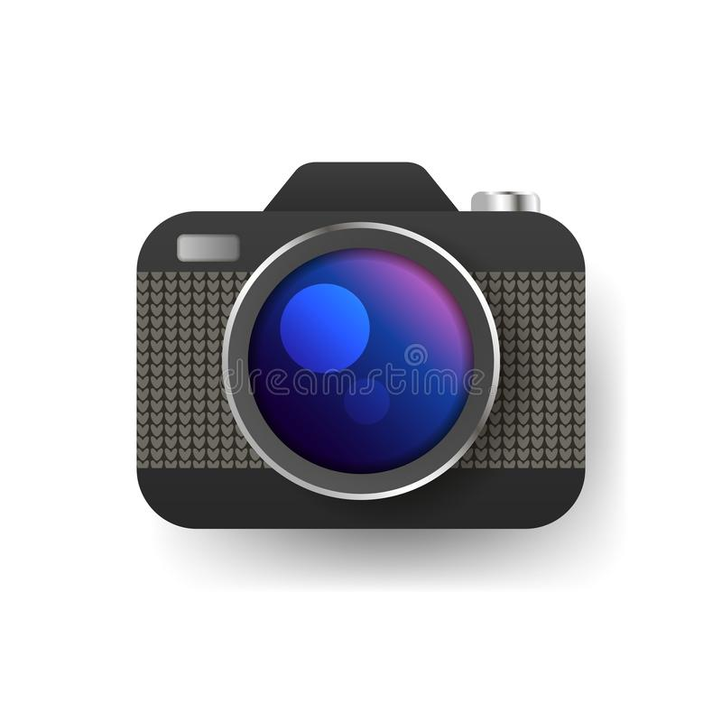 Camera icon, flat photo camera vector isolated. Modern simple snapshot photography sign royalty free illustration