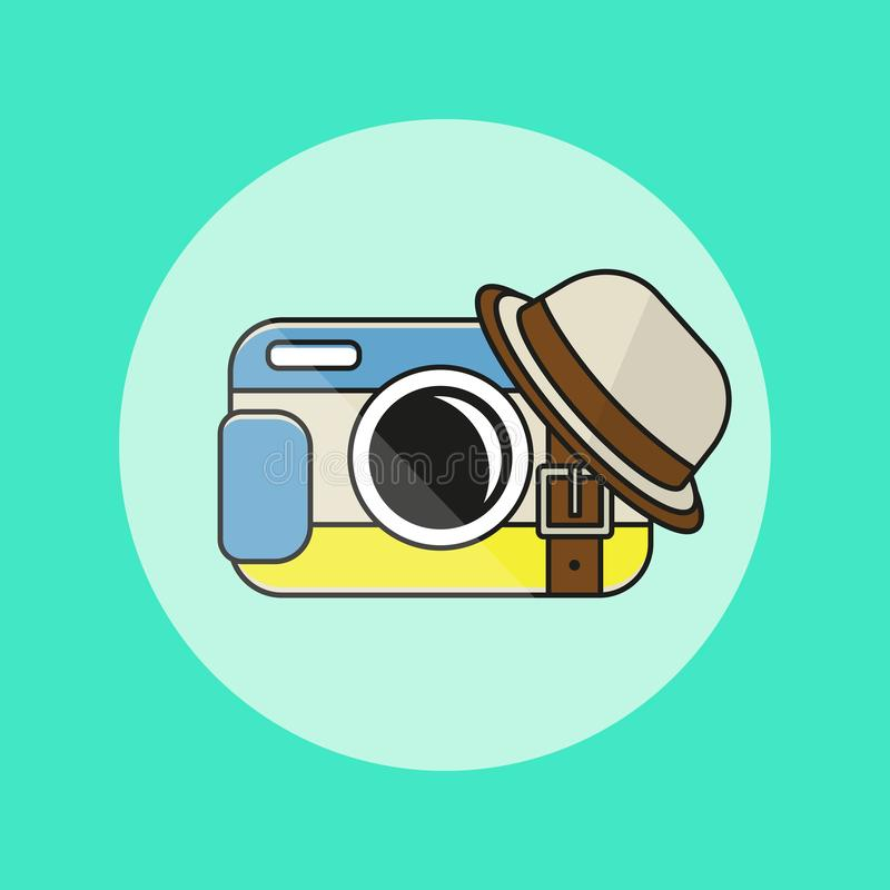 Camera icon in flat style. stock illustration