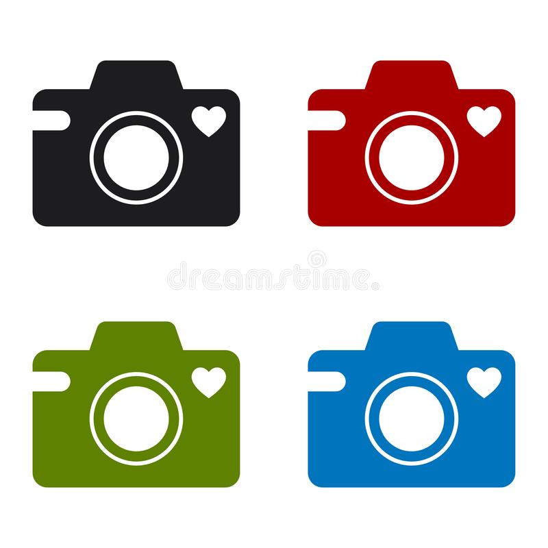Camera icon with a heart symbol royalty free illustration