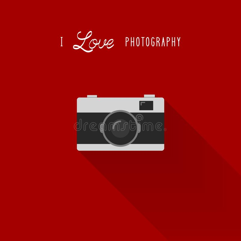 Camera icon with I love photography text vector illustration