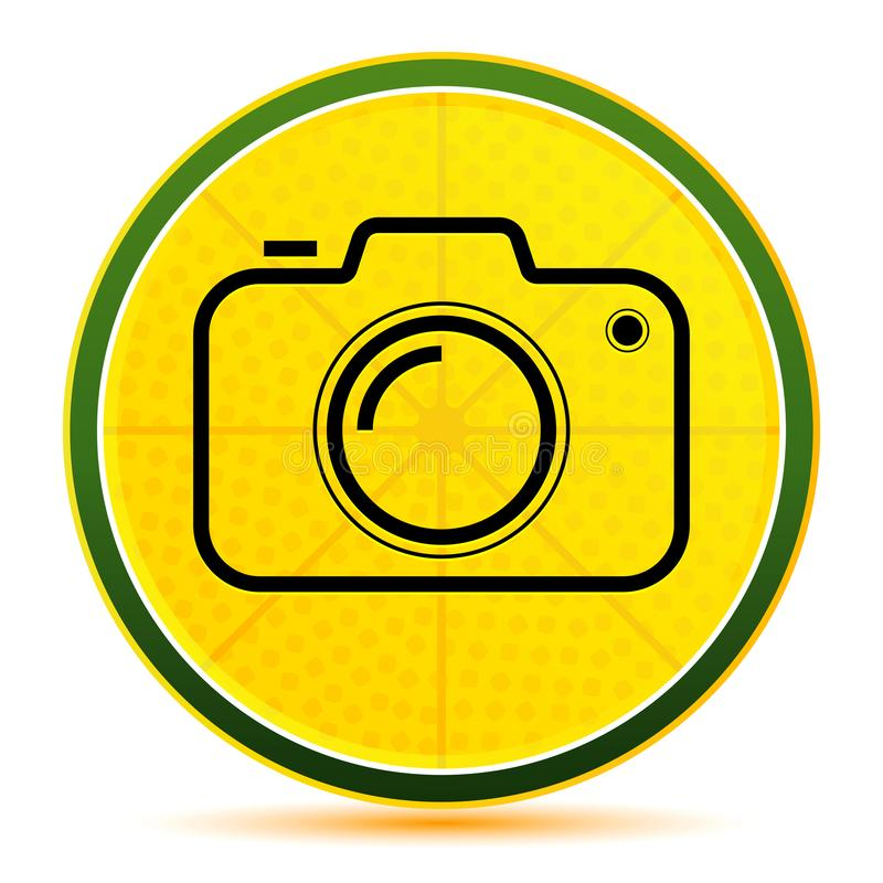 Camera icon lemon lime yellow round button illustration royalty free illustration