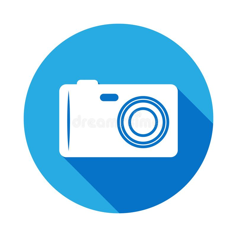 camera icon with long shadow. Element of beach holidays icon for mobile concept and web apps. Signs and symbols can be used for vector illustration