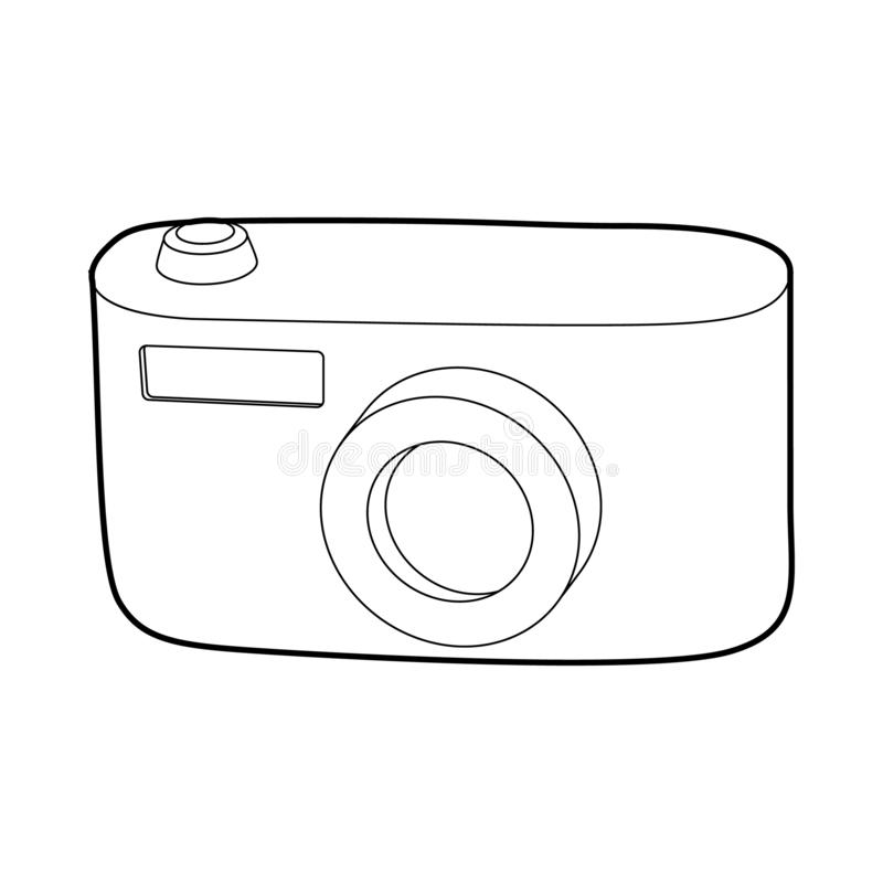 Camera icon, outline style. Camera icon in outline style isolated on white background. Shooting symbol royalty free stock photo