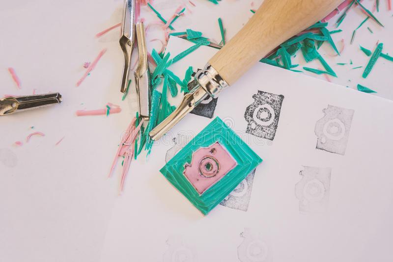 Camera icon rubber stamp making stock photos