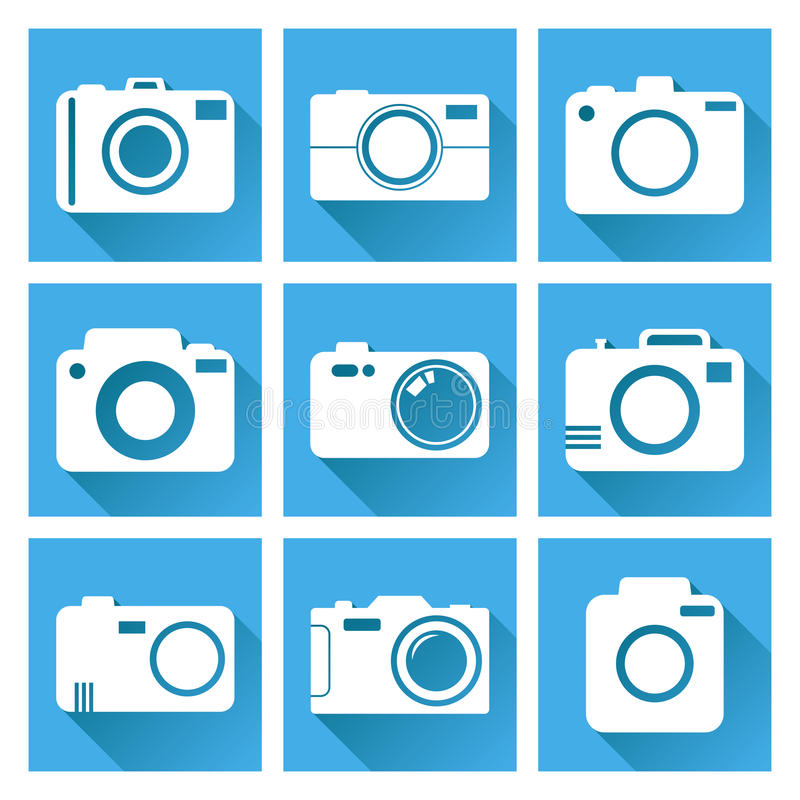 Camera icon set on blue background with long shadow. Vector illustration in flat style with photography icons. royalty free illustration