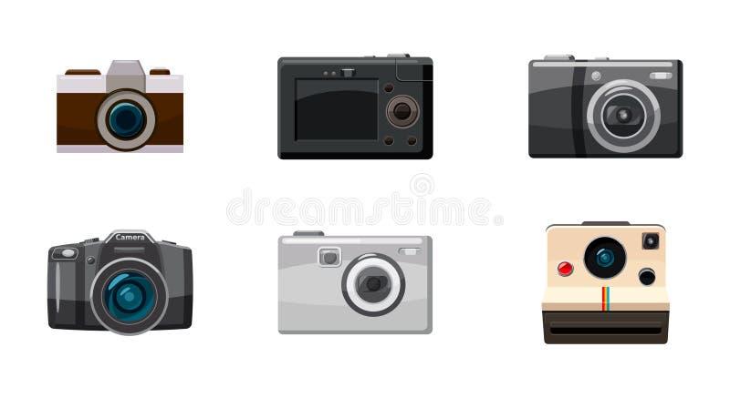 Camera icon set, cartoon style royalty free illustration