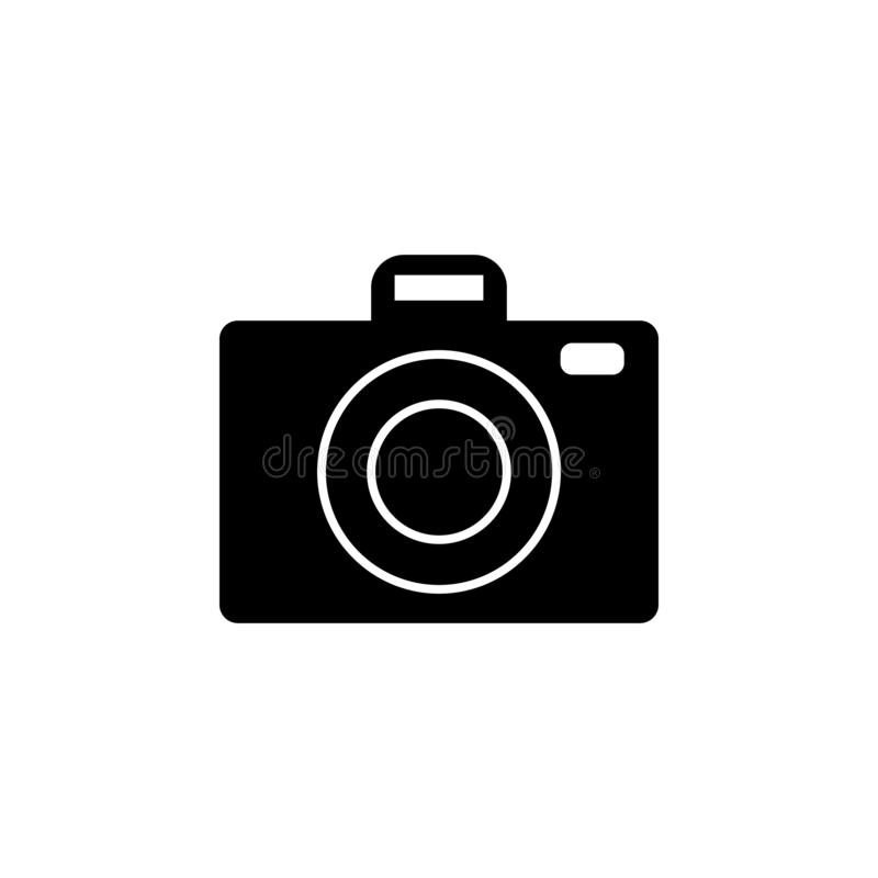 Camera icon. Simple glyph vector of universal set icons for UI and UX, website or mobile application. On white background stock illustration