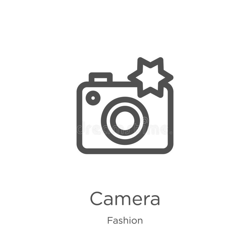 camera icon vector from fashion collection. Thin line camera outline icon vector illustration. Outline, thin line camera icon for stock illustration